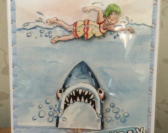 Birthday Card - Jaws - wrinkles at the movies