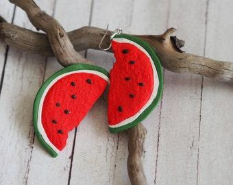 Red Earrings Gift, Summer Earrings, Fruit Jewelry Gift, Watermelon Jewelry Earrings, Watermelon Earrings, Watermelon Red Earrings