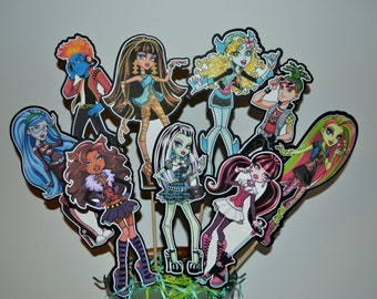 Monster High Centerpiece Picks Set of 9 (DOUBLE-SIDED)