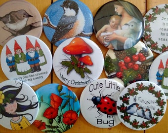 Fridge Magnets, Any FOUR Art Magnets: Choose From Any Four in Store or Four of the Same, Stocking Stuffer, 3-Inch Round Fridge Magnets