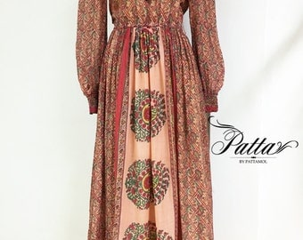 1970s Vintage indian cotton maxi dress, boho hippie ethnic dress, gypsy festival Dress