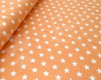 "Euro cotton knit fabric ""Small Stars ca. 1.4cm"" orange Oeko-Tex by 1/2 yd coordinate fabric"