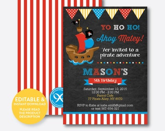Instant Download, Editable Pirate Ship Birthday Invitation, Pirate Invitation, Pirate Party Invitation, Pirate Boy, Chalkboard (CKB.52)