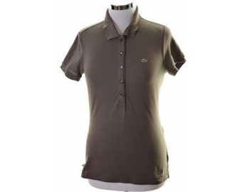 Lacoste Womens Polo Shirt Size 42 14 Medium Khaki Cotton Elastane