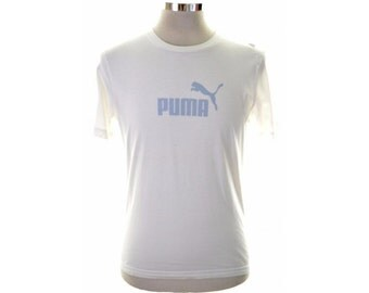 Puma Mens T-Shirt Top Large White Slim Fit