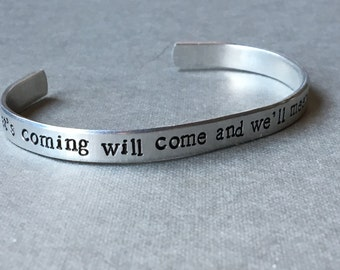Hagrid / What's Coming Will Come and We'll Meet It When It Does / Potter / Literary Gift / Literary Bracelet / Bookworm / Book Lover Gift