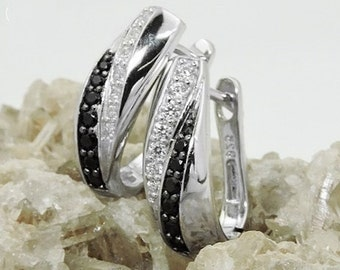 Hoops with black / white zirconias, silver 925