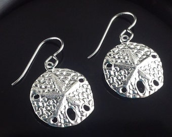 Sand dollar earrings -Sterling silver -Summer earrings -Beach jewelry -Jewelry By A.H.