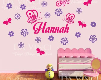 Butterflies Flowers Personalized Custom Name Vinyl Decal Sticker Wall Room