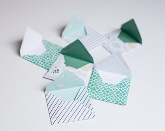 Mint Seafoam Green Stationery - Minimal Coordinating Patterns - Handmade Gift Envelopes - Modern Spring - Set of 6 - Notecards included