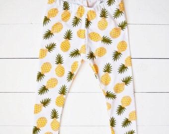 Pineapple Baby Leggings - Handmade Adorable Pineapple Little Girl Leggings