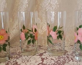 Four FRANCISCAN DESERT ROSE Iced Tea/Water Tumblers/High Ball Glasses