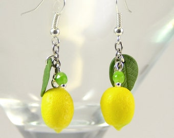 Lemon Earrings - Polymer clay jewelry  - Handmade lemon jewelry - Yellow citrus jewellery - Fruit earrings