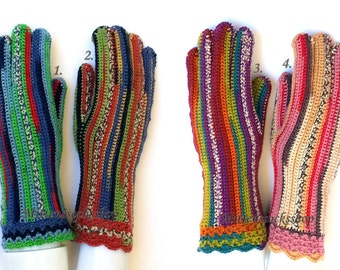 Multicolor Gloves with Fingers Women's Gloves with Fingers Colorful Girl's Gloves Finger Gloves Arm Warmers Crocheted Gloves Knitted Gloves