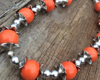 CLEARANCE, ON SALE, tangerine orange and silver statement necklace, statement jewelry, orange jewelry, orange necklace, gift for her,