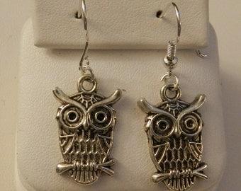 Cute Little Owl Silver earrings V2