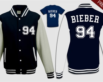 custom navy blue white bieber 94 varsity sweater jacket