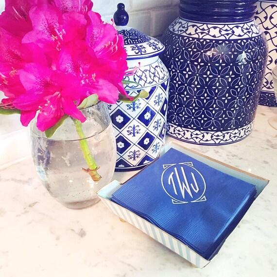 monogrammed cocktail napkin, monogrammed napkins, foil stamped napkins, personalized napkins