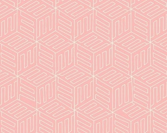 Fabric by the Yard - Fat Quarter Bundle - Cotton Fabric - Pink Mono Box - Maribel - Pink Fabric - Geometric Fabric - - Now on Sale
