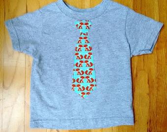 Boys fox tie shirt, toddler fox tie shirt, boys fox shirt, toddler fox shirt, Orange Fox tie shirt, baby shower gift, boy birthday gift