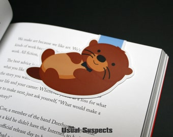 Big Otter Magnetic Bookmark, Kawaii River Otter Paper Clip for Planners or Cookbooks, Cute Otter Page Markers for Books and Reading