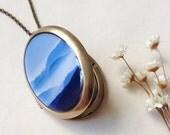 Blue Ridge Mountains Locket - Fine Art Photo Brass Locket Necklace - Mountain Landscape Shades of Blue