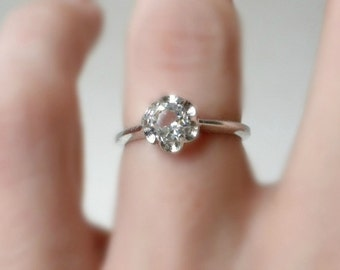 Floret Set Cubic Zirconia Ring, 18k White Gold HGE, Size 7, Vargas Jewelry, Affordable Engagement Ring, Promise Ring, CZ Ring, Budget Ring