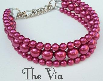 The Via in Magenta ~ Pearl Dog Collar,Cat collar, Buckle Collars, Martingale Collars, Dog Pearls UNBREAKABLE GUARANTEE!