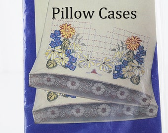 Stamped Pillowcases for Embroidery with Lace Edging, Floral Embroidery, K128S