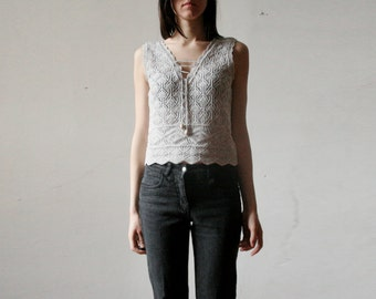 Vintage knitted cotton lace top
