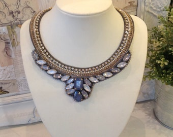 Grey diamanté collar style necklace