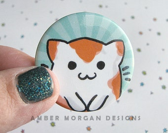 Cute Cat Button, Catfish Pin, Cat Pinback, Kitty Koi, Cat Accessories, Funny Button, Wearable Art, Kawaii, Cartoon Cat Drawing
