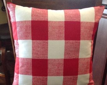 "18"" x 18"" pillow covers, throw pillows, red white buffalo plaid Premier fabric"