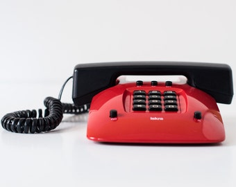 Button phone - Red button telephone - Retro phone - Old telephone - Vintage phone - Iskra phone