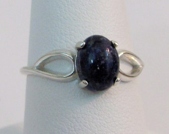 Lapis Ring in Sterling Silver, Afghanistan Lapis, Lapis Jewelry, 8x6mm Lapis Lazuli Gemstone, Lapis Solitaire Ring, Blue Gemstone Ring