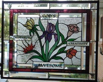 Stained Glass Window Hanging 21 3/4 X 17 3/4