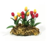 Beautiful Tulip Plant Miniature For Your Fairy Garden, Dollhouse Garden, Flower Lovers, Red Tulips, Yellow Tulips