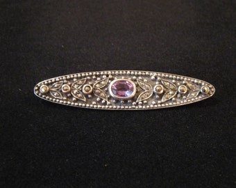 Sterling Silver Marcasite and Amethyst Pin Brooch