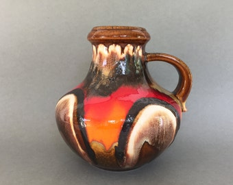 Scheurich  423  -  18   Vintage   handled Vase, unusual glaze , Mid Century Modern 1970s ceramic West Germany. WGP.