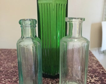 FREE SHIPPING - Trio of Vintage Ribbed Poison Bottles