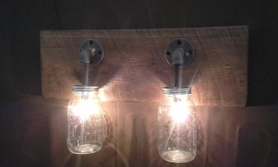 Mason jar 2 light fixture rustic reclaimed by godskountrycreations - Primitive bathroom vanity lights ...