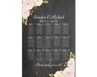Wedding Seating Chart, Chalkboard Wedding, Floral Wedding, Printable Seating Chart, Seating Plan, Table Chart, Printable Seating Sign #CL133