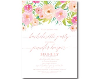Bachelorette Party Invitation, Floral Bachelorette Invitation, Girls Night Out, Printable Invitation, Bachelorette Party Invite #CL131