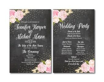Chalkboard Wedding Programs - Gold Sparkles - Floral Wedding - Chalkboard Wedding - Wedding Programs - Ceremony Program - Order of Service