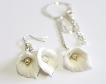 White Calla Lilies Set - Calla Lilies Jewelry Set - Gifts - White Calla Lilies Bridesmaid, Necklace, Bridesmaid Jewelry Set