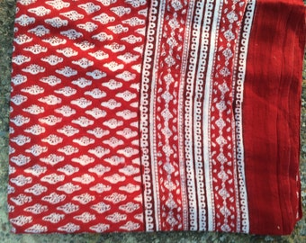 Pareo in Light cotton Classic red flower  hand block printed  cotton sarong