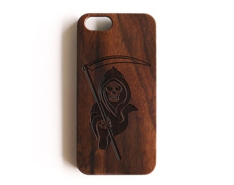 iPhone 5, Real Wood, iPhone SE, iPhone 5S, iPhone SE Case, iPhone 5S Case, iPhone SE Cases, iPhone 5 Case, Grim Reaper, Walnut Wood, For Her