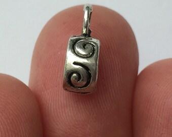 15 Swirl Bail Beads Antique Silver - BD03
