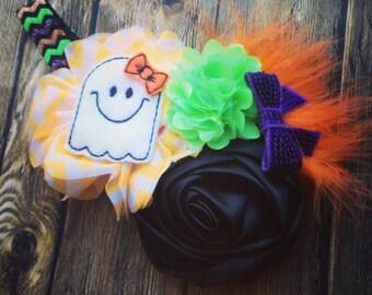 Halloween headband, pumpkin headband, Halloween bow, ghost headband