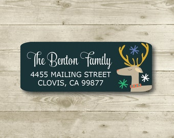 Reindeer, Return Address Label, Personalized, MATTE, Christmas, Holiday
